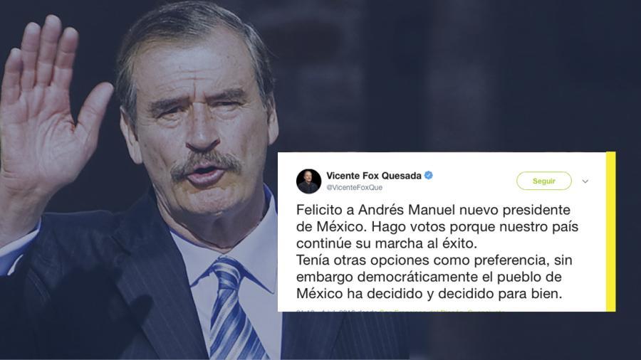 Vicente Fox felicita a López Obrador por su virtual triunfo