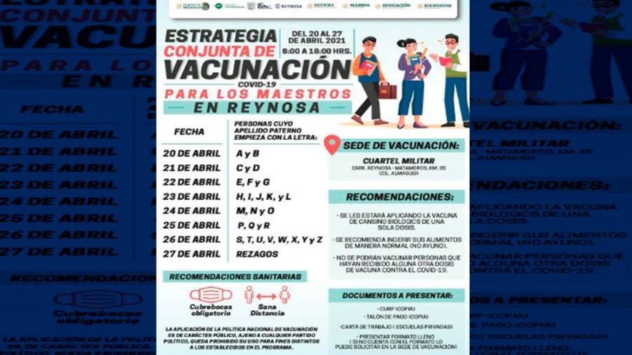 Vacunan a Maestros en Reynosa