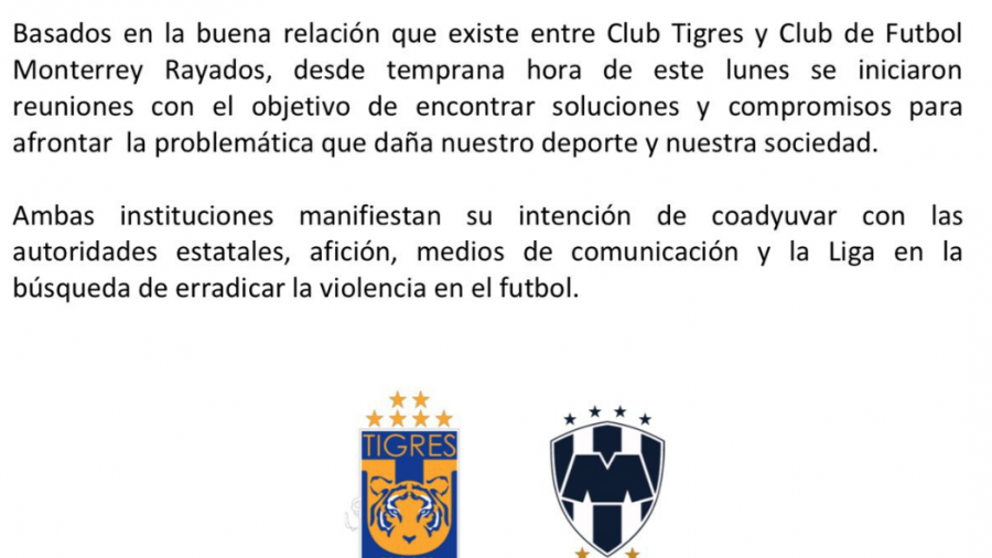 Tigres y Rayados se unen para acabar con la violencia en el futbol