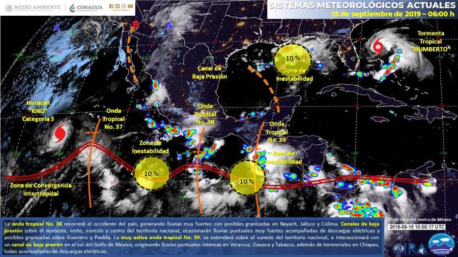 Se prevén lluvias puntuales torrenciales en el país