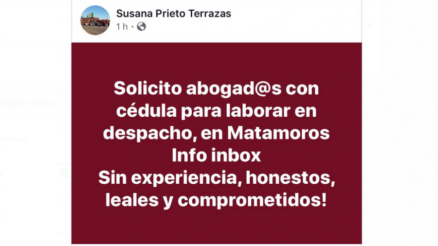Inicia Susana Prieto reclutamiento de abogados honestos