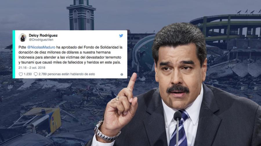 Dona Venezuela 10 mdd a Indonesia tras sismo y tsunami