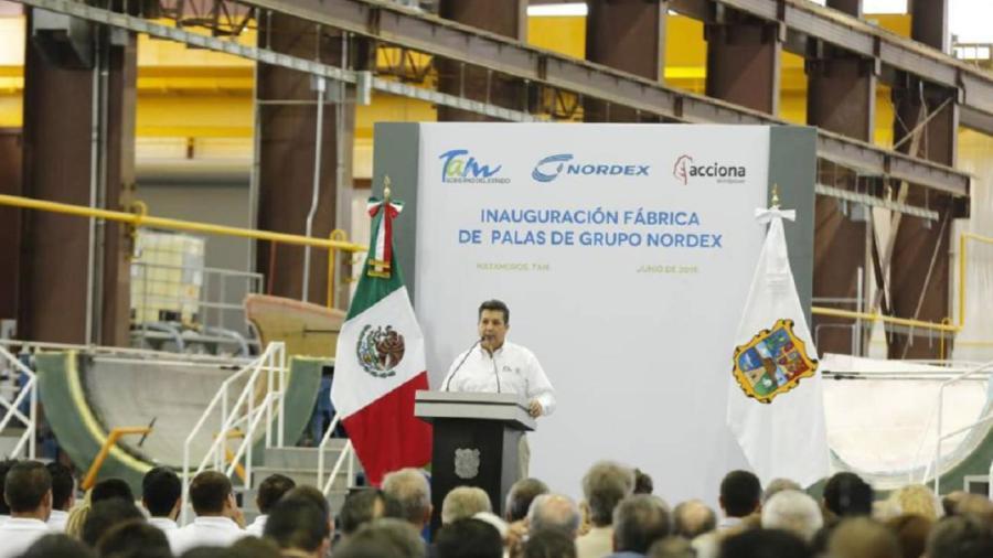 Gobierno de Tamaulipas inaugura planta de producción de palas eólicas