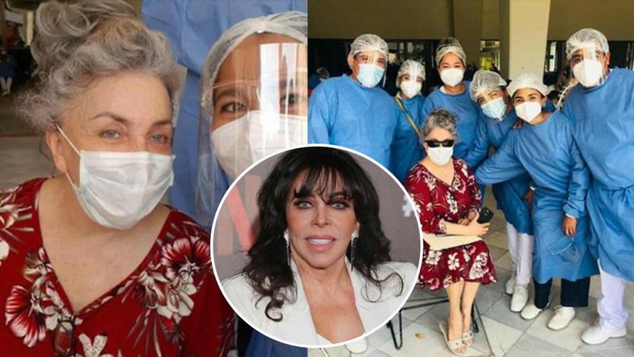 Verónica Castro reaparece irreconocible al recibir la vacuna contra COVID-19