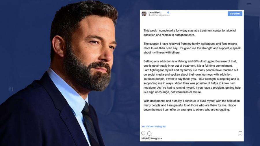 Ben Affleck envía emotivo mensaje tras salir de centro de rehabilitación