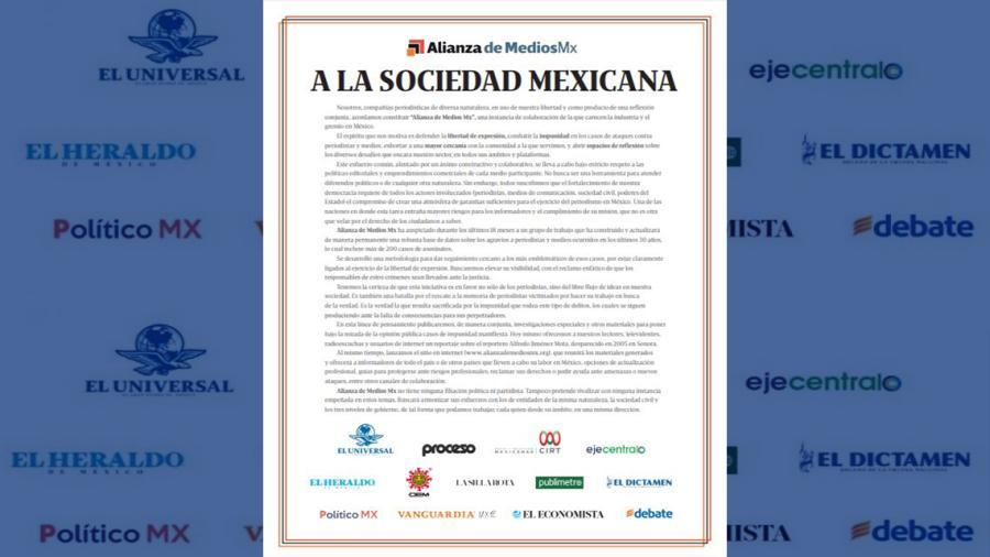 """Empresas de medios de comunicación forman la """"Alianza de Medios Mx"""" en defensa de la libertad de expresión"""
