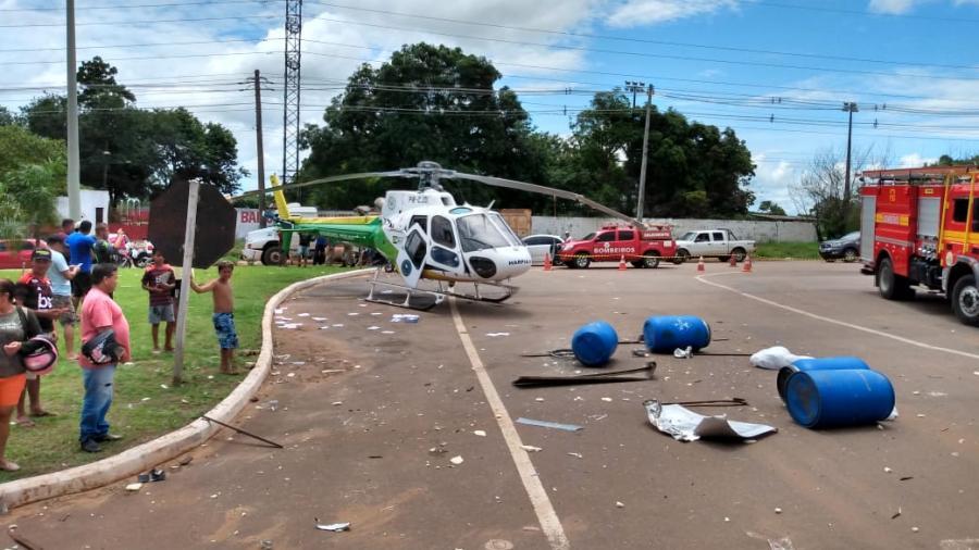 Helicóptero sufre aparatoso accidente