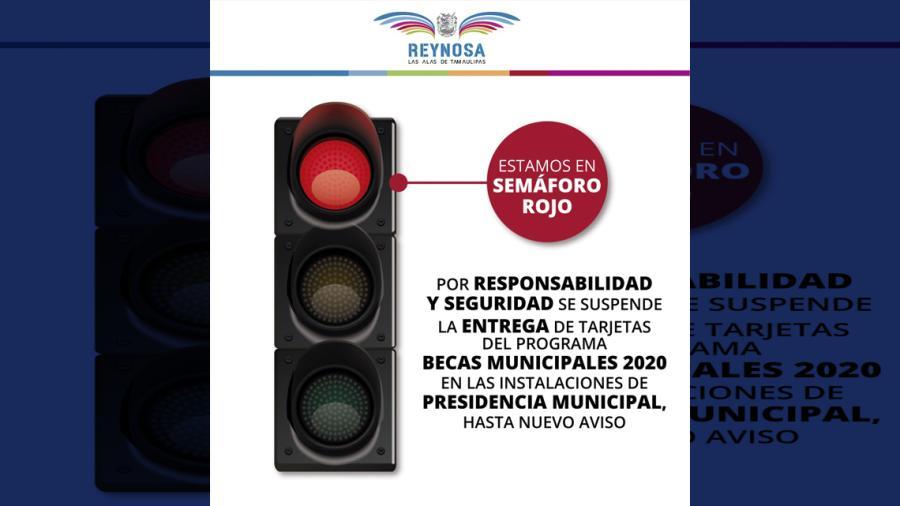 Por semáforo rojo, entrega de becas no se hará en presidencia municipal