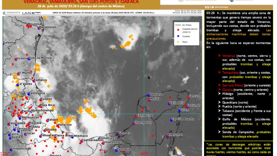 Continuarán las lluvias fuertes con descargas eléctricas en Tamaulipas