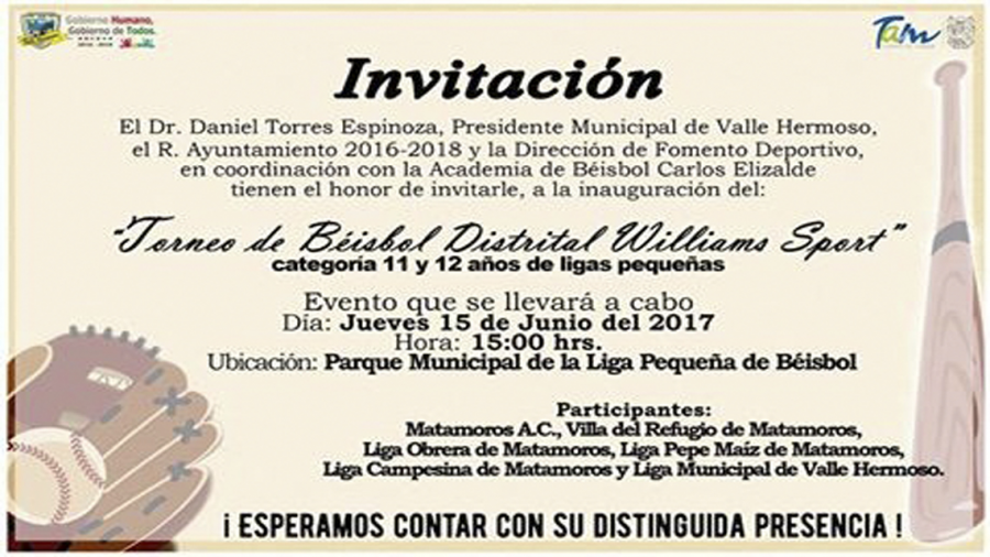 "Invitan a ""Torneo de Béisbol Distrital Williams Sport"""
