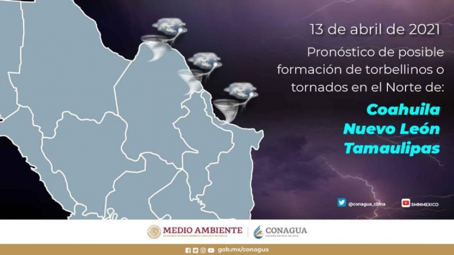 Ingreso de nuevo frente frío propicio para formación torbellinos o tornados en Tamaulipas