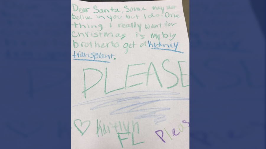 Niña le pide a Papá Noel un riñón para su hermano