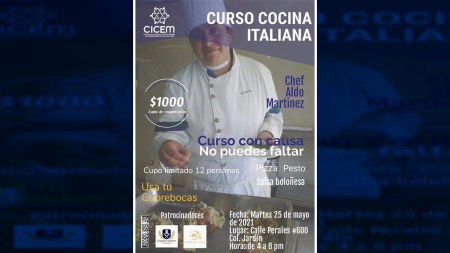 Invitan a curso de cocina italiana a beneficio de víctimas de violencia