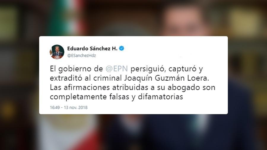 """Vocero de actual gobierno niega sobornos a EPN por parte de """"El Chapo"""""""