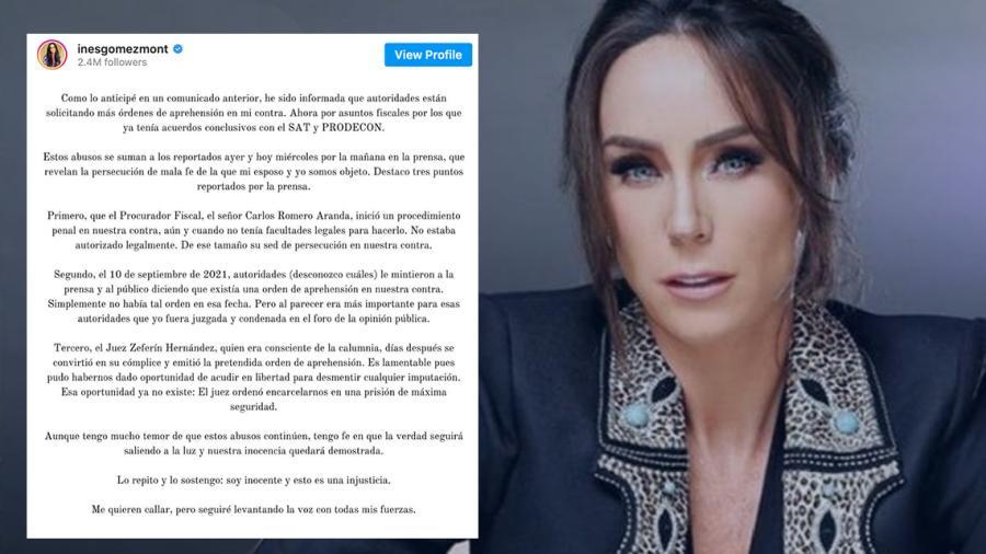"""Inés Gómez Mont afirma que tiene """"mucho temor"""" por actuar de autoridades en su caso"""