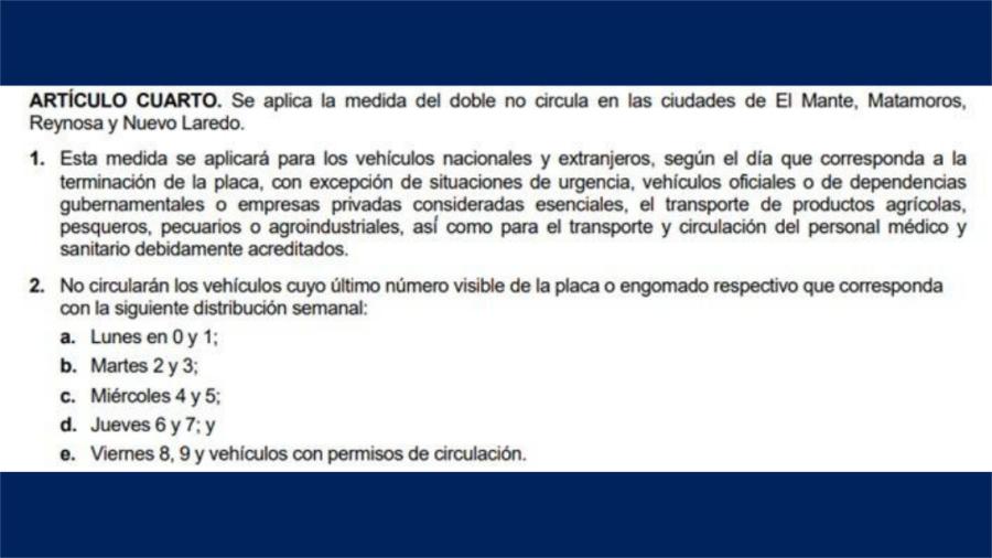 Hoy no circula se elimina de la zona sur; y se aplican modificaciones menores a nuevo decreto de Salud
