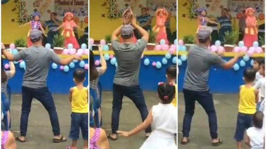 Hombre baila junto a su hija durante concurso de talentos