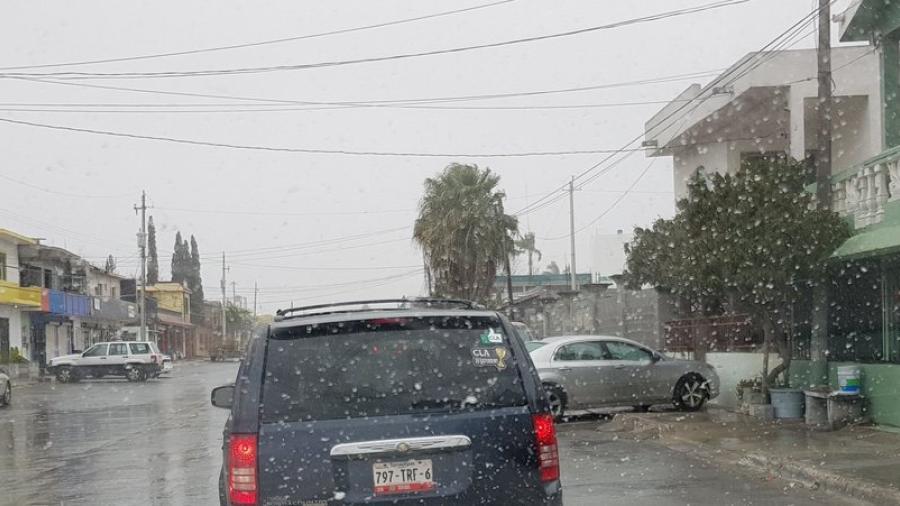 Se registra caída de aguanieve en Nuevo Laredo y Reynosa, con sensaciones térmicas actuales de -4 grados.