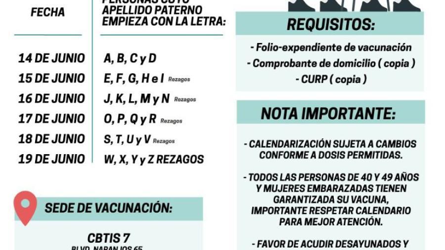 Iniciará el lunes 14 vacunación 40-49 años y embarazadas