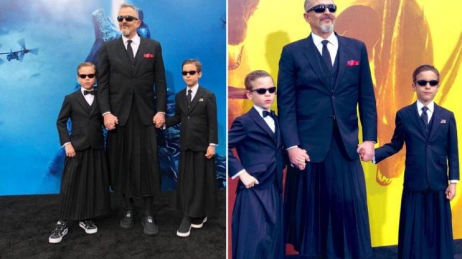 Miguel Bosé y sus hijos lucen faldas
