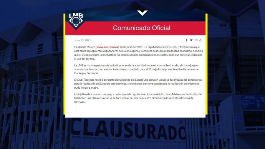 Liga Mexicana de Béisbol no jugará más en Reynosa en lo que resta de la temporada