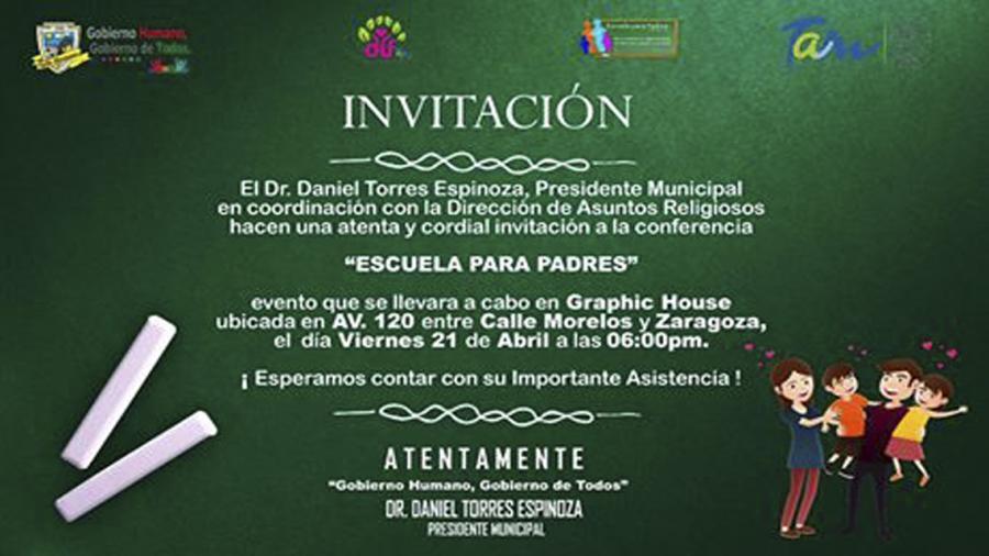 """Invita ayuntamiento a la """"Escuela para padres"""""""