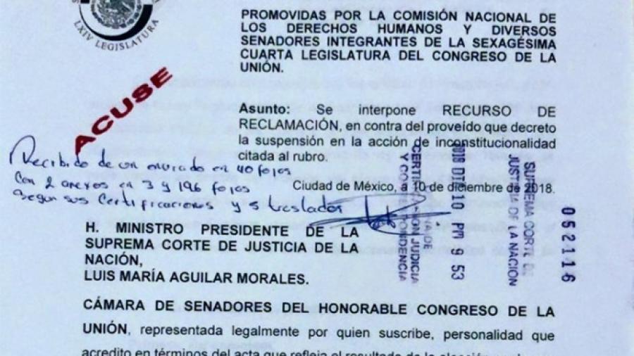Senado presenta recurso de reclamación contra suspensión a Ley de Remuneraciones