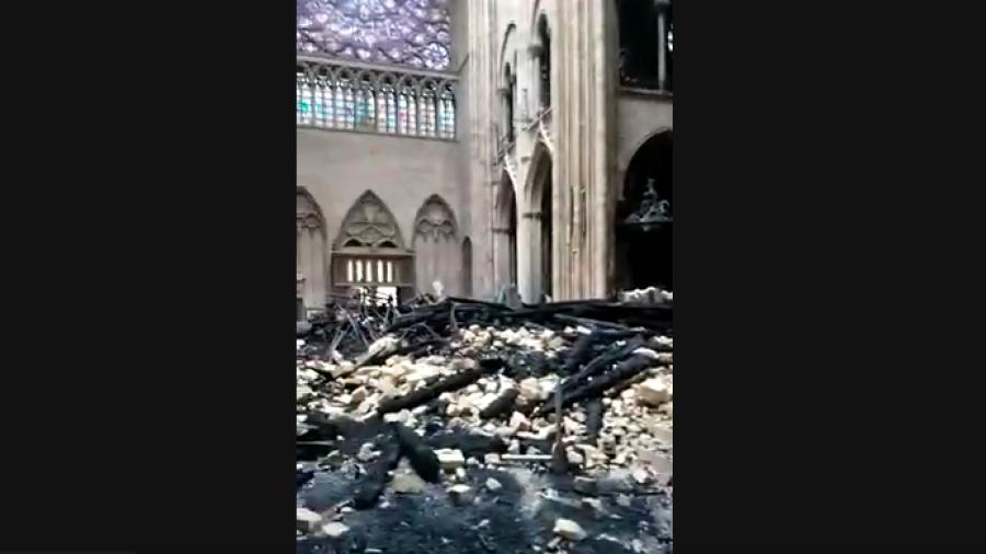 Impresionante video de Notre Dame tras incendio