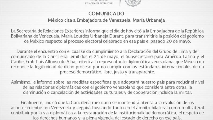 SRE anuncia la disminución de las relaciones diplomáticas con Venezuela