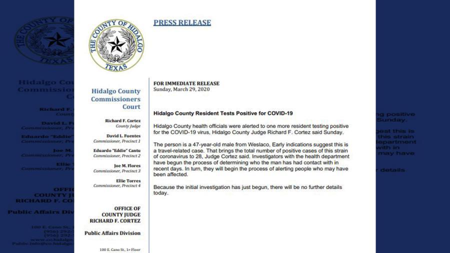 Se eleva a 28 el número de casos positivos de covid-19 en el Condado de Hidalgo