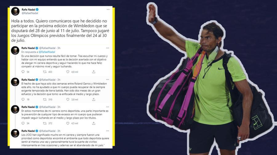 Confirma Rafa Nadal que no disputará Wimbledon ni Juegos Olímpicos