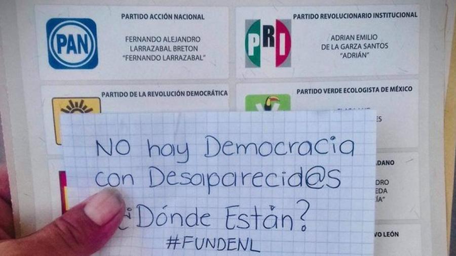 Ciudadanos marcan boletas con consignas por feminicidios y desaparecidos