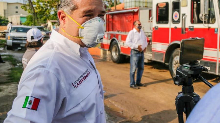 Gobierno de Adrián Oseguera continúa desinfectando espacios públicos