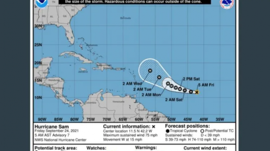 """Se fortalece """"Sam"""" en el Atlantico; Es el séptimo huracán de la temporada"""