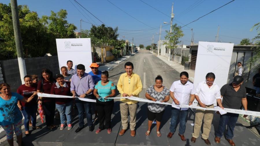 Entrega Mario López obras de pavimentación por 11 mdp y reitera compromiso de intensificar trabajo por Matamoros