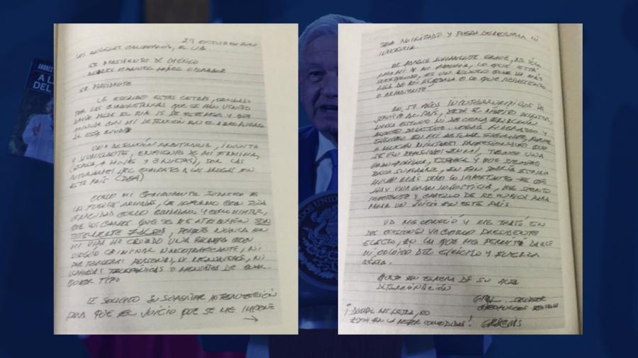 """Revela AMLO carta que Cienfuegos le escribió tras su detención en su nuevo libro """"A la mitad del camino"""""""
