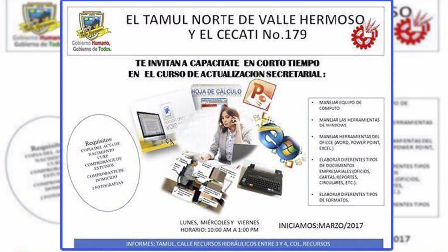 Invitan a capacitarse al curso de actualización secretarial en VH