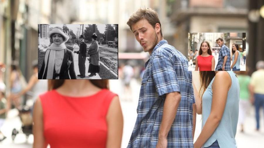 ¿Recuerdas el meme del novio distraído? Chaplin lo hizo primero