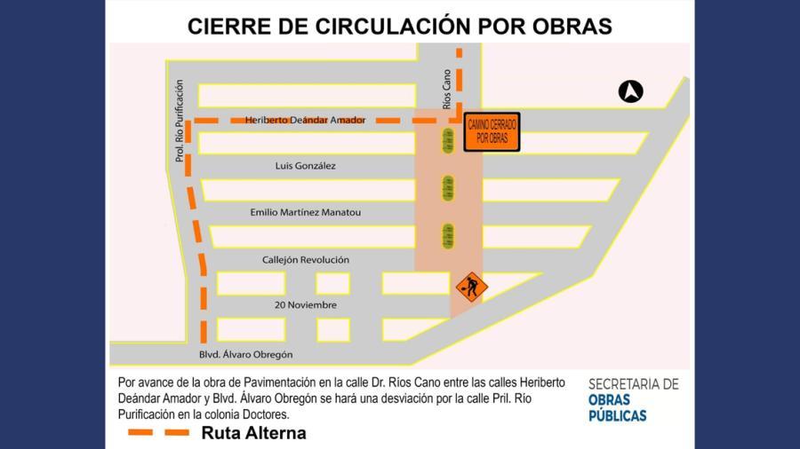 Ayuntamiento informa sobre cierre de vialidades por obras en desarrollo
