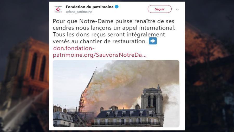 Inician colecta para reconstrucción de la Catedral de Notre-Dame