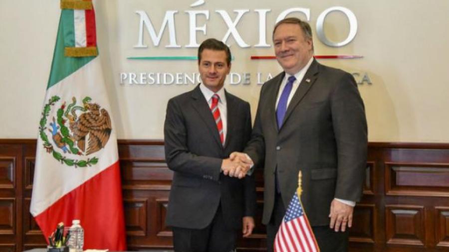 Mike Pompeo y Peña Nieto en Los Pinos