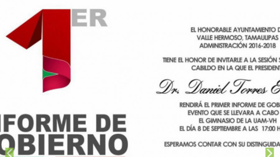 Gobierno de Valle Hermoso invita a su primer informe