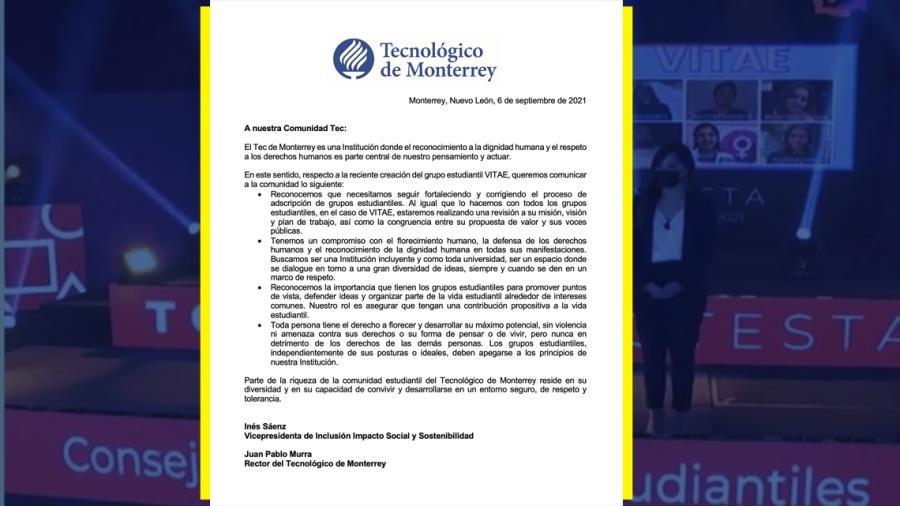 Revisará TEC de Monterrey grupo anti-aborto VITAE
