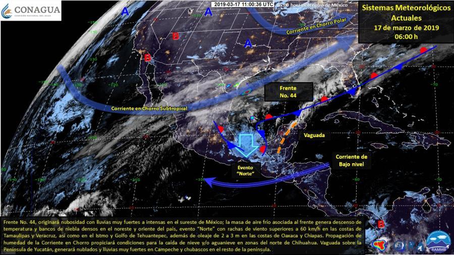 Frente no. 44, originará lluvias muy fuertes a intensas en el sureste de México