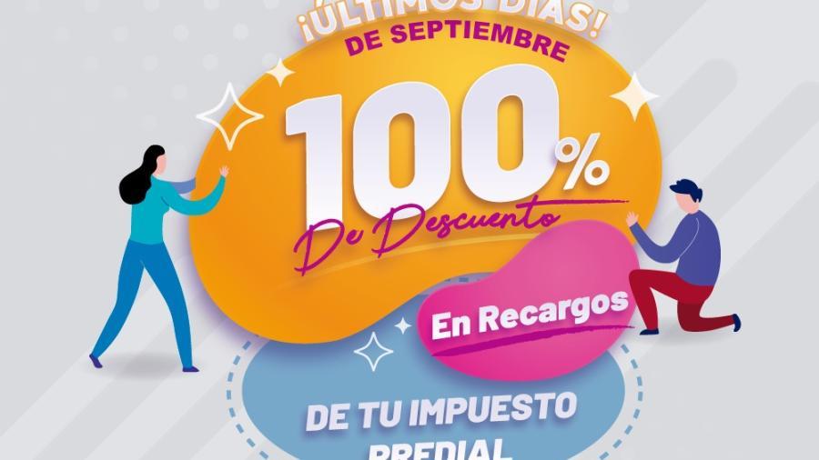 Descuentos del 100% en recargos de Predial concluye en septiembre