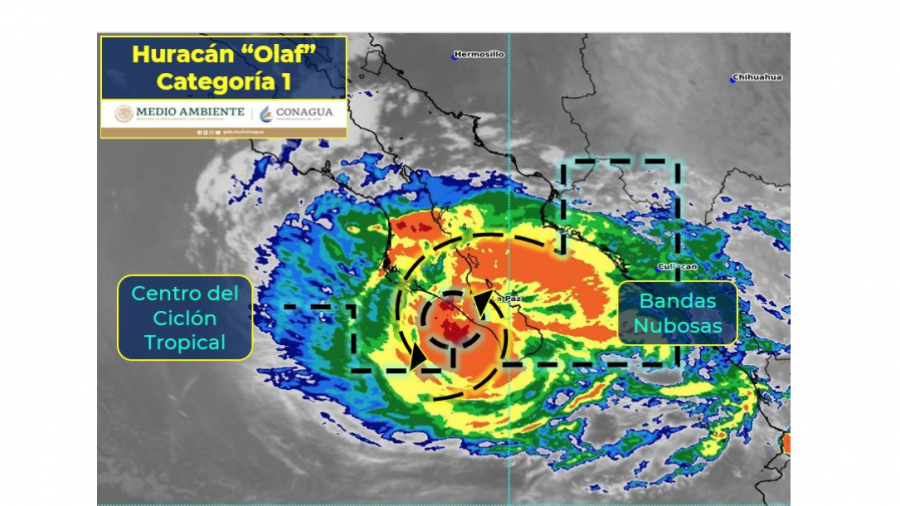 Huracán Olaf toca tierra en Los Cabos, Baja California Sur