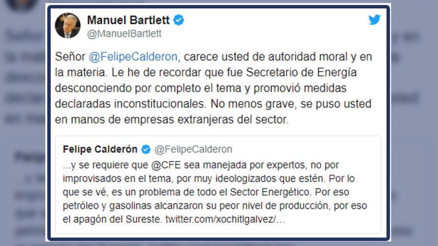 El roce en Twitter de Bartlett y Calderón