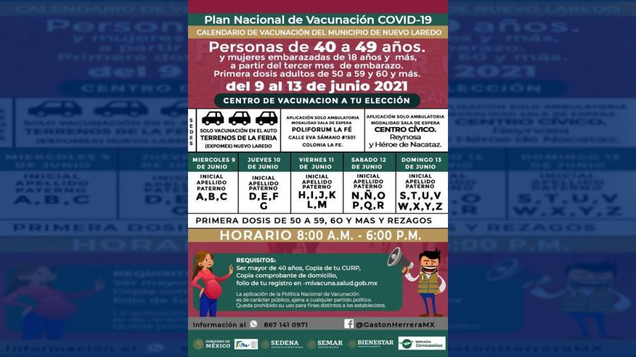 Nuevo Laredo vacunará contra el COVID-19 a mayores de 40 a 49 años y rezagos